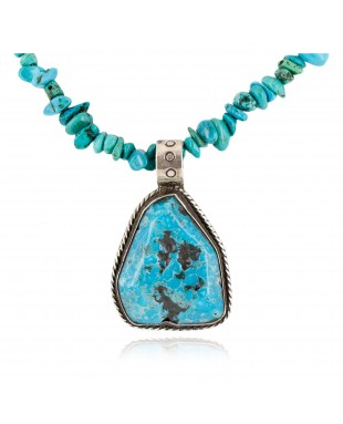 Certified Authentic .925 Sterling Silver Navajo Natural Turquoise Native American Necklace 15003-2-15222
