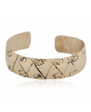 Certified Authentic Bear Handmade Navajo Native American Brass Bracelet 13140-1