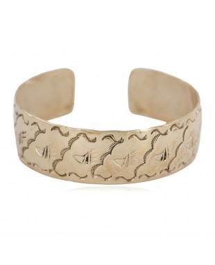 Certified Authentic Bear Paw Handmade Navajo Native American Brass Bracelet 13140-3