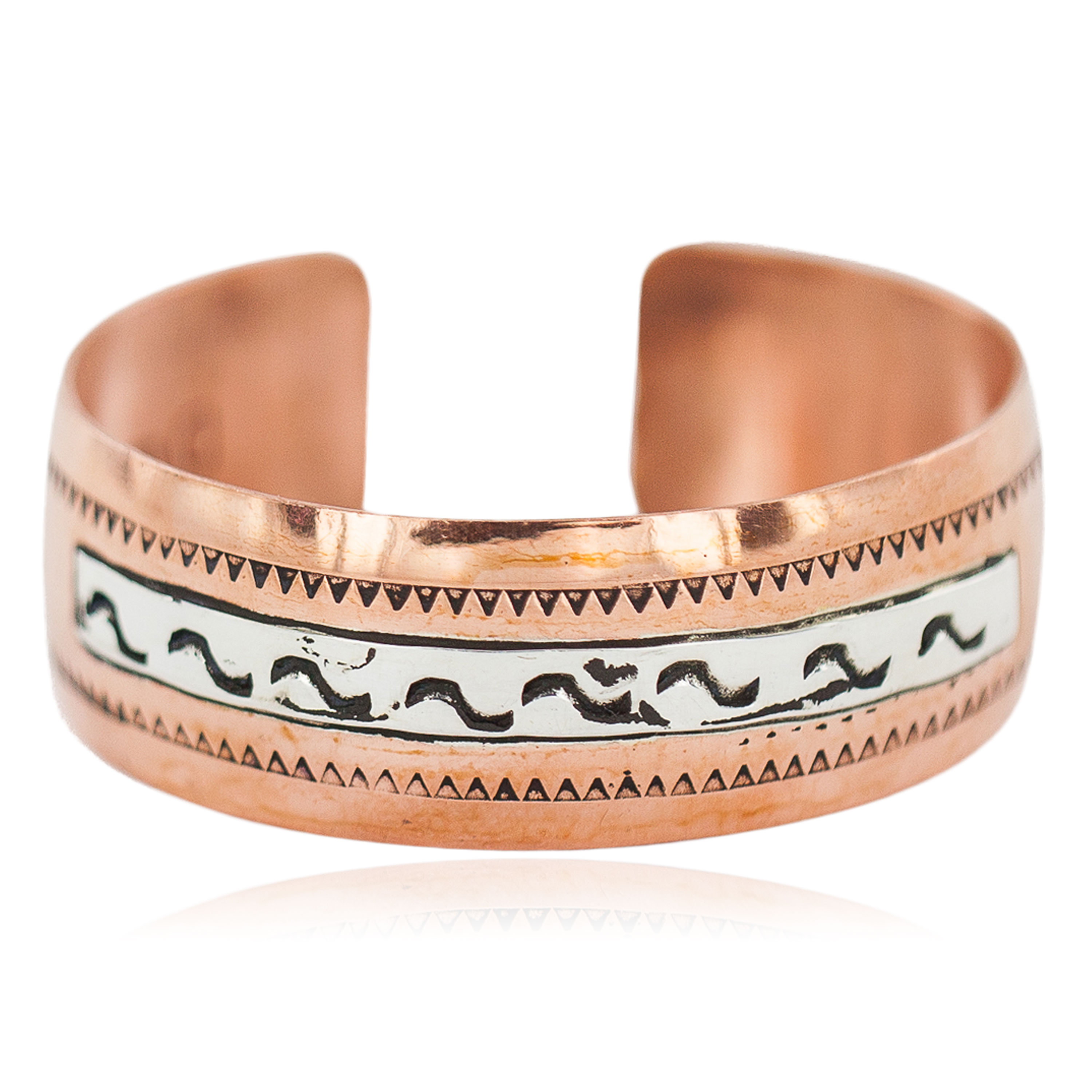 Certified Authentic Feather Navajo .925 Sterling Silver Handmade Native American Pure Copper Bracelet 92005-19 All Products NB160222204847 92005-19 (by LomaSiiva)