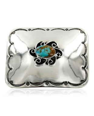 Certified Authentic Flower Handmade Navajo Nickel Natural Turquoise Native American Buckle 1204-3