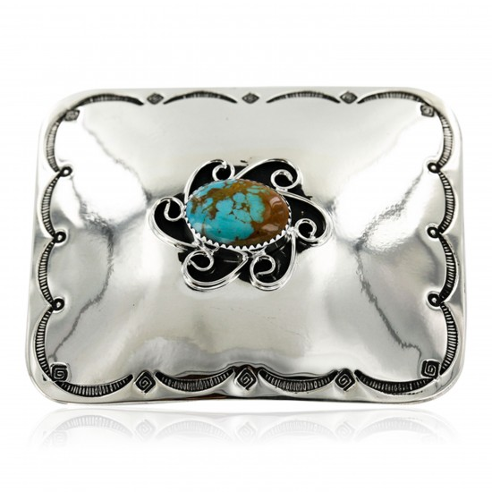 Certified Authentic Flower Handmade Navajo Nickel Natural Turquoise Native American Buckle 1204-3 All Products 391265091688 1204-3 (by LomaSiiva)