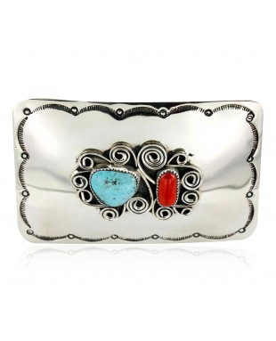 Certified Authentic Flower Navajo Nickel Natural Turquoise and Coral Native American Buckle 1192-2