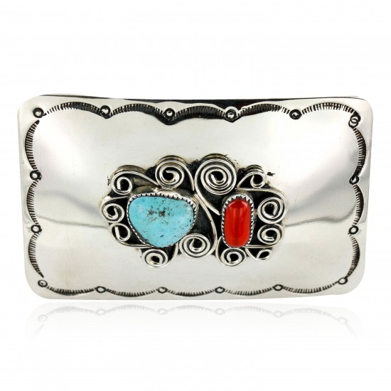 Certified Authentic Flower Navajo Nickel Natural Turquoise and Coral Native American Buckle 1192-2 All Products 371217485228 1192-2 (by LomaSiiva)