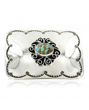 Certified Authentic Flower Navajo Nickel Natural Turquoise Native American Buckle 1204-2