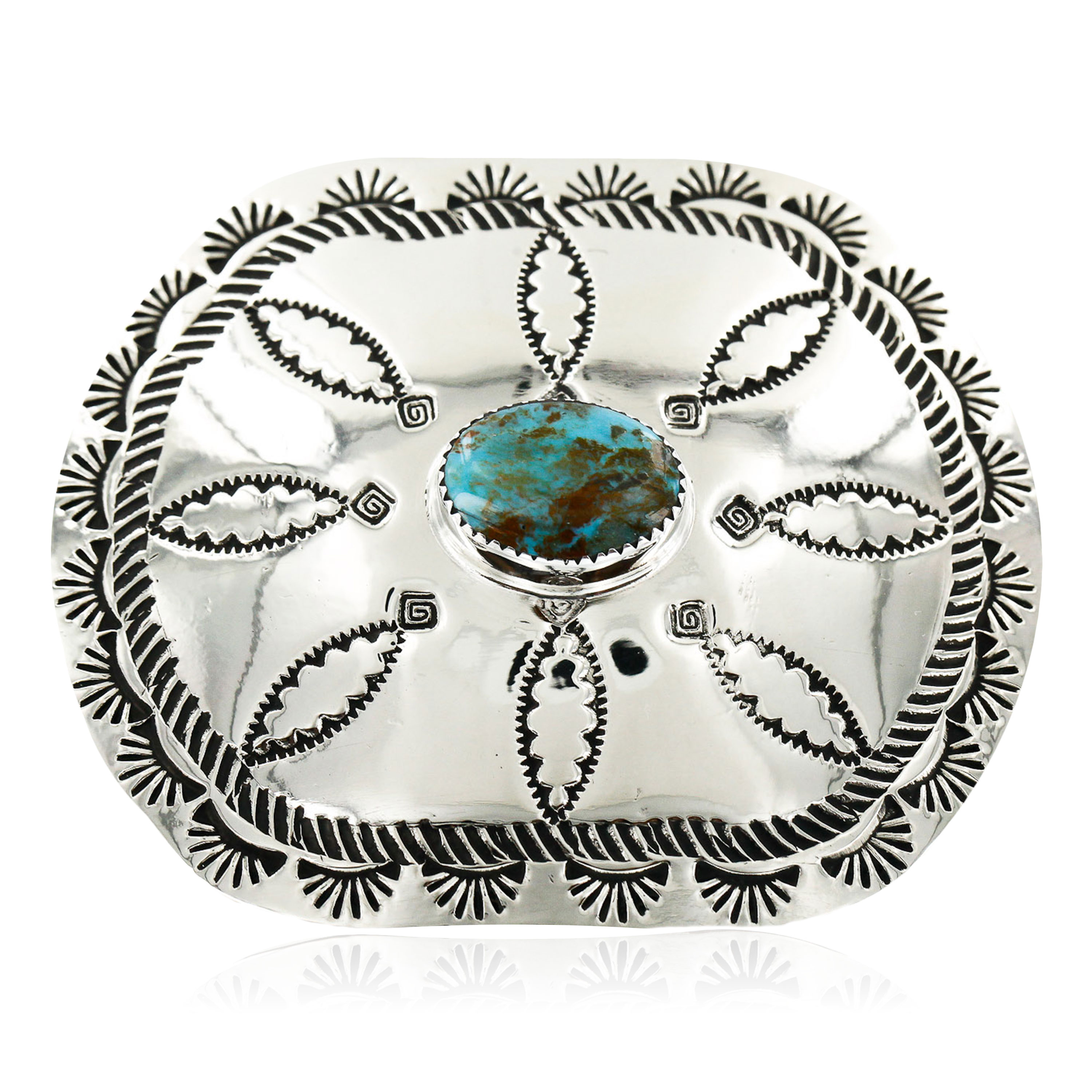 Certified Authentic Flower Navajo Nickel Natural Turquoise Native American Buckle 1204 All Products 1204 1204 (by LomaSiiva)