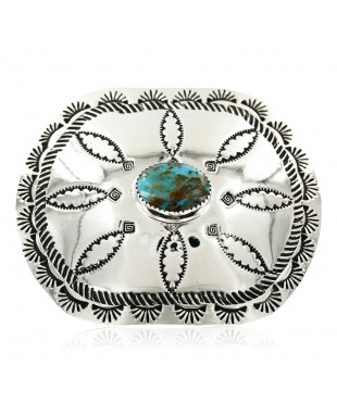 Certified Authentic Flower Navajo Nickel Natural Turquoise Native American Buckle 1204