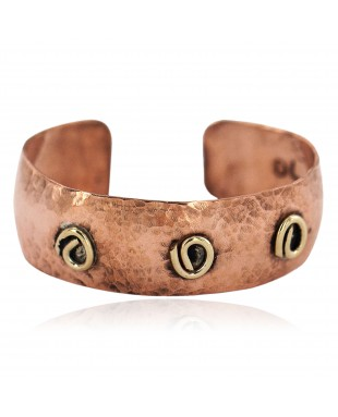 Certified Authentic Hammered Handmade Navajo Brass Native American Pure Copper Bracelet  92007-2
