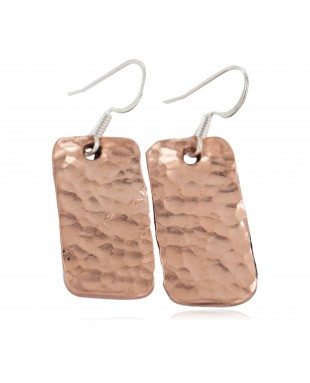 Certified Authentic Hammered Handmade Navajo Native American Pure Copper Dangle Earrings 18246