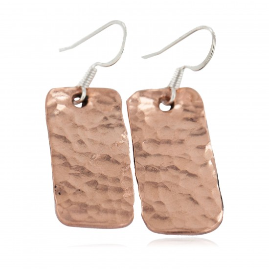 Certified Authentic Hammered Handmade Navajo Native American Pure Copper Dangle Earrings 18246 All Products NB160406083832 18246 (by LomaSiiva)
