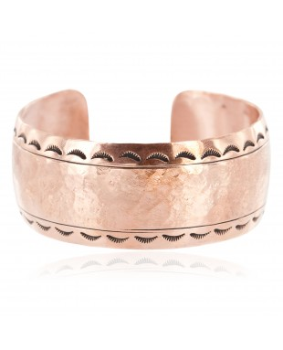 Certified Authentic Hammered Handmade Navajo Pure Copper Native American Bracelet 12963