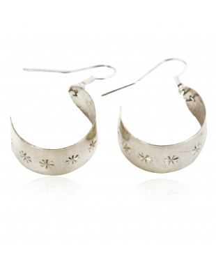 Certified Authentic Handmade Navajo .925 Sterling Silver Dangle Native American Earrings 18034