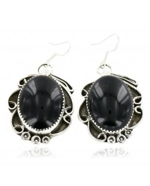 Certified Authentic Handmade Navajo .925 Sterling Silver Dangle Native American Earrings Natural Black Onyx 18095-5