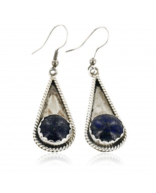 Certified Authentic Handmade Navajo .925 Sterling Silver Dangle Native American Earrings Natural Lapis 18046