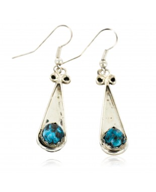 Certified Authentic Handmade Navajo .925 Sterling Silver Dangle Native American Earrings Natural Turquoise 18079-2