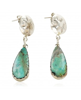 Certified Authentic Handmade Navajo .925 Sterling Silver Dangle Native American Earrings Natural Turquoise 18087-1-2