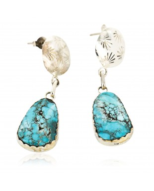 Certified Authentic Handmade Navajo .925 Sterling Silver Dangle Native American Earrings Natural Turquoise 18087-1