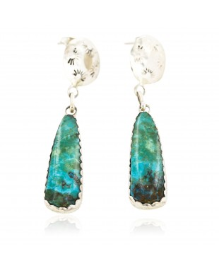Certified Authentic Handmade Navajo .925 Sterling Silver Dangle Native American Earrings Natural Turquoise 18087-2