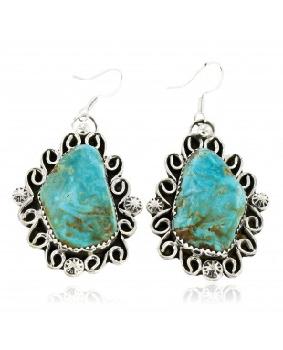 Certified Authentic Handmade Navajo .925 Sterling Silver Dangle Native American Earrings Natural Turquoise 18095-4