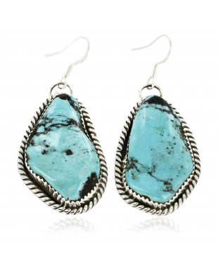 Certified Authentic Handmade Navajo .925 Sterling Silver Dangle Native American Earrings Natural Turquoise 18095-6
