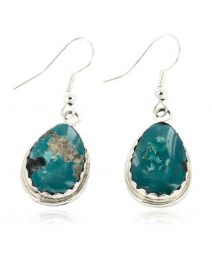Certified Authentic Handmade Navajo .925 Sterling Silver Dangle Native American Earrings Natural Turquoise 27188-2
