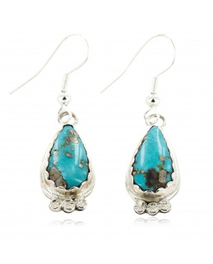 Certified Authentic Handmade Navajo .925 Sterling Silver Dangle Native American Earrings Natural Turquoise 27188-3