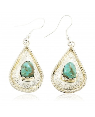 Certified Authentic Handmade Navajo .925 Sterling Silver Dangle Native American Earrings Natural Turquoise 27190-1