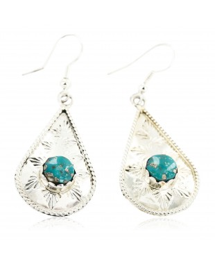 Certified Authentic Handmade Navajo .925 Sterling Silver Dangle Native American Earrings Natural Turquoise 27190-2