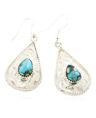 Certified Authentic Handmade Navajo .925 Sterling Silver Dangle Native American Earrings Natural Turquoise 27190-3