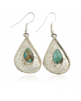 Certified Authentic Handmade Navajo .925 Sterling Silver Dangle Native American Earrings Natural Turquoise 27192-2
