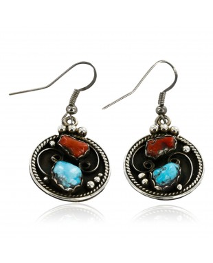 Certified Authentic Handmade Navajo .925 Sterling Silver Dangle Native American Earrings Natural Turquoise and Coral 18085