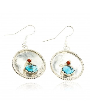 Certified Authentic Handmade Navajo .925 Sterling Silver Dangle Native American Earrings Natural Turquoise Coral 18080-1