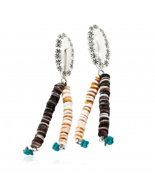 Certified Authentic Handmade Navajo .925 Sterling Silver Dangle Native American Earrings Natural Turquoise Heishi 18032-1
