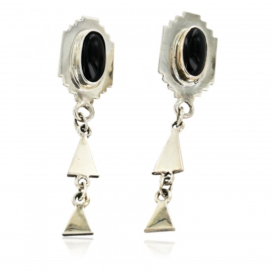 Certified Authentic Handmade Navajo .925 Sterling Silver Native American Natural Black Onyx Post Earrings 27115 All Products NB27115 27115 (by LomaSiiva)
