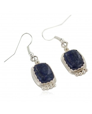 Certified Authentic Handmade Navajo .925 Sterling Silver Natural Lapis Native American Dangle Earrings 97006-2