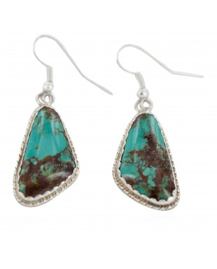 Certified Authentic Handmade Navajo .925 Sterling Silver Natural Mountain Turquoise Dangle Native American Earrings 97008-1