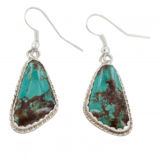 Certified Authentic Handmade Navajo .925 Sterling Silver Natural Mountain Turquoise Dangle Native American Earrings 97008-1 All Products NB160219232318 97008-1 (by LomaSiiva)