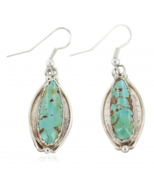 Certified Authentic Handmade Navajo .925 Sterling Silver Natural Mountain Turquoise Native American Dangle Earrings 97008-3