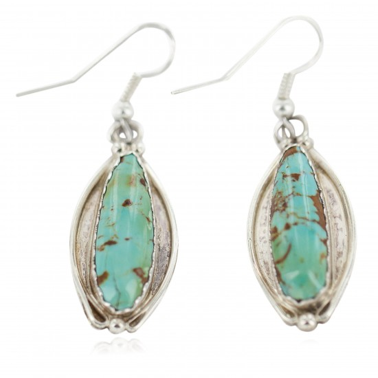 Certified Authentic Handmade Navajo .925 Sterling Silver Natural Mountain Turquoise Native American Dangle Earrings 97008-3 All Products NB160220212848 97008-3 (by LomaSiiva)