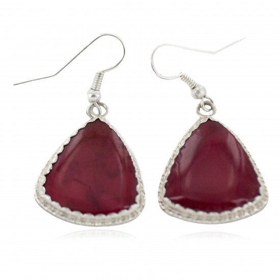 Certified Authentic Handmade Navajo .925 Sterling Silver Natural Red Jasper Native American Dangle Earrings 97007-2 All Products NB160220204334 97007-2 (by LomaSiiva)