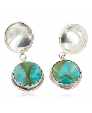 Certified Authentic Handmade Navajo .925 Sterling Silver Natural Turquoise Dangle Native American Earrings 27193-2