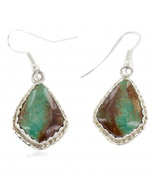 Certified Authentic Handmade Navajo .925 Sterling Silver Natural Turquoise Native American Dangle Earrings 97006-1