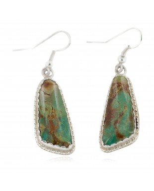 Certified Authentic Handmade Navajo .925 Sterling Silver Natural Turquoise Native American Dangle Earrings 97008-2