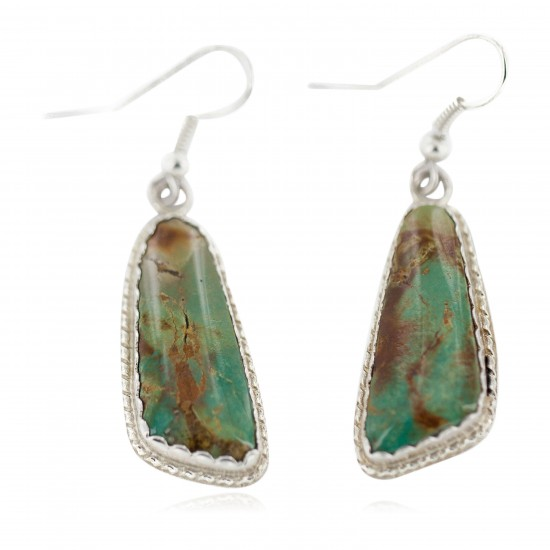 Certified Authentic Handmade Navajo .925 Sterling Silver Natural Turquoise Native American Dangle Earrings 97008-2 All Products NB160220210140 97008-2 (by LomaSiiva)