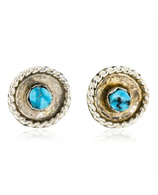 Certified Authentic Handmade Navajo .925 Sterling Silver Stud Native American Earrings Natural Turquoise 24376-2