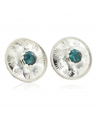 Certified Authentic Handmade Navajo .925 Sterling Silver Stud Native American Earrings Natural Turquoise 27188-1