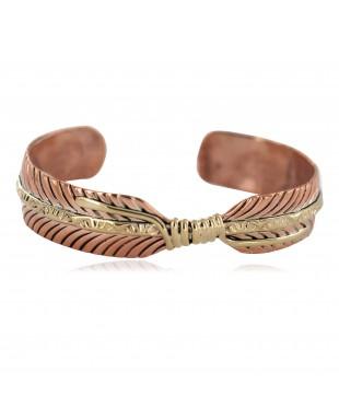 Certified Authentic Handmade Navajo Brass Native American Pure Copper Bracelet  92023-4