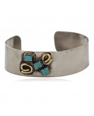 Certified Authentic Handmade Navajo Brass Natural Turquoise Native American Nickel Bracelet  92019-1