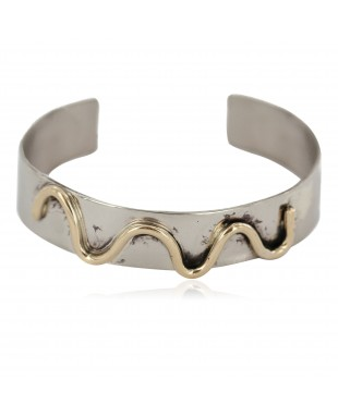 Certified Authentic Handmade Navajo Native American Brass Nickel Bracelet 13140-4