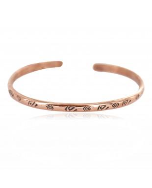 Certified Authentic Handmade Navajo Native American Pure Copper Bracelet 13156-1